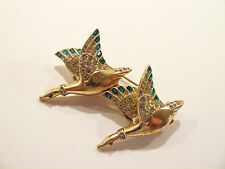 Stunning Coro Sterling & Emerald Rhinestone Flying Ducks / Geese Duette Brooch
