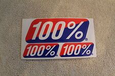 100% Racing Hot Rod Motocross Red White Blue Sticker - 2x4in. Sheet of 3