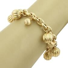 Estate 18k Yellow Gold Fancy Multi Ball Charms Oval Chain Bracelet