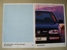 Prospekt VW Golf 3 VR6 2,8 174 PS AAA III Modelle 1994 1995 deutsch brochure