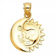 14K Yellow Gold Moon & Sun Pendant GJPT1936