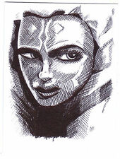 ACEO Sketch Card Padawan Aksoka Tano from Star Wars The Clone Wars TV Series