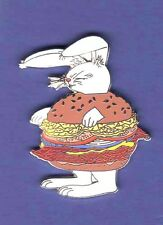 BURGER BUNNY BACON CHEESEBURGER HAMBURGER  HAT PIN LAPEL PIN TIE TAC BADGE #1516