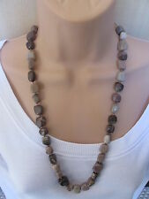 Lola Rose Brown Beige Grey Multi Semi Precious Stones Bead Necklace & Pouch NEW