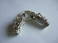 3 Sets Silver Dragon Head Clasp Hook Spring Ring Fit 7mm Round Leather Bracelet