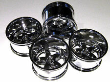 "T-MAXX, E-MAXX, SAVAGE Chrome 1""Offset Rims 83x56mm 14mm Hex Set of 4 BLEMS NIP!"