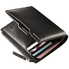 teemzone Men Cowhide Bifold Slim Coin Wallet Passcase Checkbook Purse Black