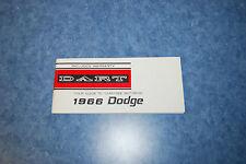 1966 Dodge Dart Owners Manual
