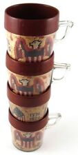 Set of 4 Bicentennial Cups Mugs Thermal Coffee Tea 1776 1976 Eagle Flag Plastic