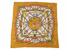 Authentic HERMES Scarf 100% Silk Petite main Orange Multi-Color Good 35542