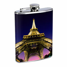 Paris Flask D5 8 oz Stainless Steel France Eiffel Tower Bright City Lights