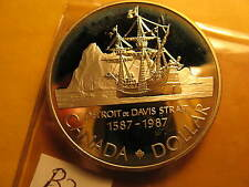 CANADA 1987 PROOFLIKE GEM SILVER DOLLAR COMMEMORATING 400 YRS DAVIS STRAIT ID#B2