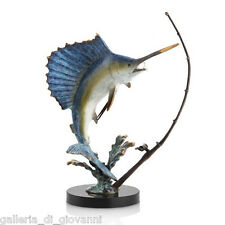 Sailfish Putting Up a Good Fight Brass Ocean Statue Sculpture Nautical Fish