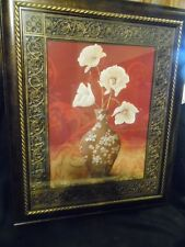 Beautiful framed Art White primrose flowers in vase with rich rose background.