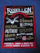REBELLION FESTIVAL 2013 A5 FLYER PUNK ROCK OI DAMNED COCK SPARRER BUZZCOCKS MINT