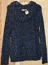 Womens High Collar Blue Winter Sweater Boat Neck CATO Size Large NWT