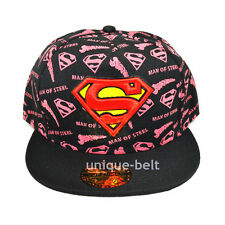 New Superman Pink Black Snapback Hiphop adult baseball cap flat hat Man of Steel