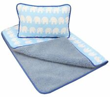 SALE! BABY BLUE Merino Wool & Cotton Cot Bed Baby Quilt / Duvet + PILLOW 40x60cm