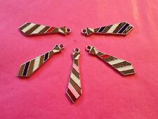Silver Tone & Enamel Tie/Neck Tie charms pack of 5    *Fifty Shades Themes*