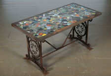 Antique Spanish Wrought iron Coffee table w/Mosaic Tiles top c.1910