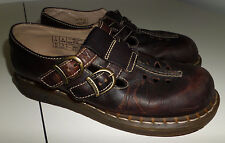 Dr Doc Martens Double Buckle Mary Jane Shoes Dark Brown Leather Womens 9/41 UK 7