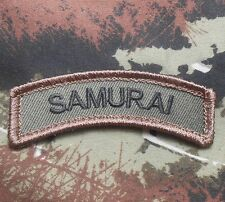 SAMURAI ARMY TAB ROCKER TACTICAL MORALE FOREST VELCRO® BRAND FASTENER PATCH