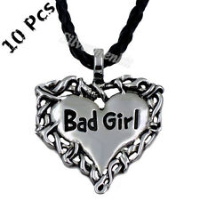 Wholesale 10 Pcs Silver Bad Girl Heart Men Women Pewter Pendant Necklace WP#206