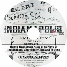 1916 Real Estate Atlas of Indianapolis, Indiana - IN History Genealogy Maps CD