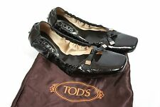 TOD'S BALLERINA FLATS BLACK PATENT LEATHER , EUR37.5 UK4.5