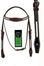 Western Dark Oil Leather With Natural Braiding on cheek/Browband/Crown Headstall