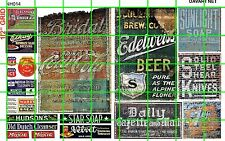 NH014 1/2 Set N SCALE GHOST SIGNS CAFE BEER DRY GOODS ICE SODAS DAVE'S DECALS