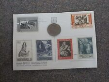 Galleria Savelli Rome Vatican Souvenir post card stamps and coin  -  1960's