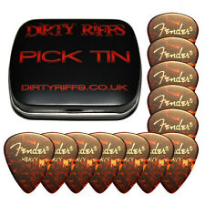 12 x Fender Tortoiseshell Heavy Classic Celluloid Guitar Picks In A Pick Tin