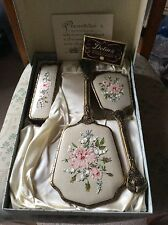 Delina 1960's Petit Point Ornate Filigree Dressing Table Set
