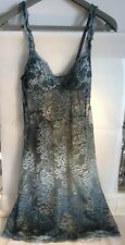 Rare La Perla Teal Turquoise Ombre Lace Slip Dress Camisole UK 6 Made In Italy