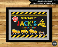 CONSTRUCTION PERSONALISED BIRTHDAY SIGN POSTER WELCOME SIGN DECORATION WALL ART