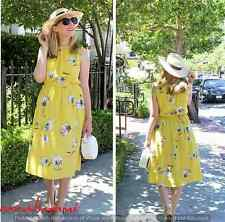 ZARA NEW YELLOW FLORAL PRINTED MIDI DRESS OPEN BACK BOW SIZE S