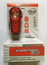 NEW Planet Bike Superflash USB Rechargeable Rear Blinking LED Tail Light