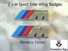 2 M Sport Piccolo Emblema Adesivo Ala Laterale Power Metallo Cromato New BMW
