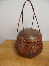 Korb Antik Nähkorb Essenskorb Picknickkorb China Flechtkunst Sammler 14a1