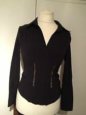 Karen Millen Black Sexy Zip  Shirt UK 16