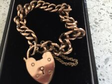 Antique heart shaped padlock 9ct rose gold charm braclet