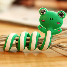FD2398 Cartoon Earphone Headphone Cable Cord Organize Wrap Wind ~Frog~ 1pc