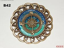 steampunk brooch badge bronze compass pirate Assassin's Creed black sails LARP