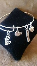 Expandable Silver Colored Handmade Bangle Charm Bracelet TEACHER