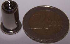 100 Edelstahl A4 Blindnietmuttern M6 mit Flachkopf 0,5-3,0mm V4A seewasserfest