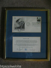 ORGANIZED LABOR PROUD AND FREE, framed George Meany first day issue stamp 1980