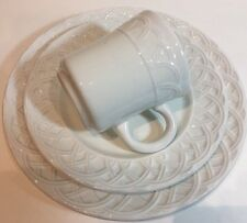 Pier 1 Imports Basket Relief 3 Pc. Place Setting Made in Italy White Earthenware