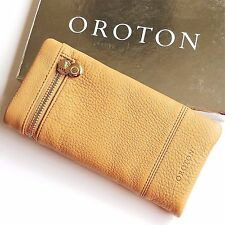 RRP$225 New OROTON Women Bueno Soft Fold Wallet Purse Leather Natural Tan