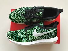 NEW Nike Roshe Run Flyknit NM SE Shoes Trainers Size UK 8.5 Green /Black /White
